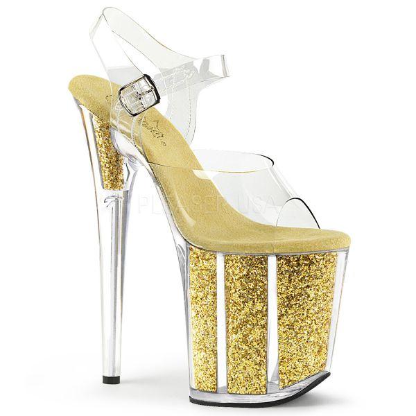 Durchsichtige Sandalette mit gold Glitter gefülltem Plateau FLAMINGO-808G